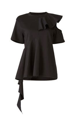 Black Ruffle Panel Top by Goen. J