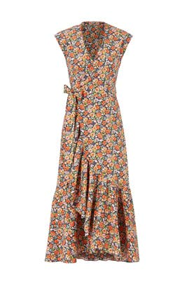 Orange Floral Printed Wrap Dress by Rebecca Taylor