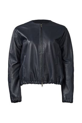 Navy Leather Golf Jacket by VINCE.