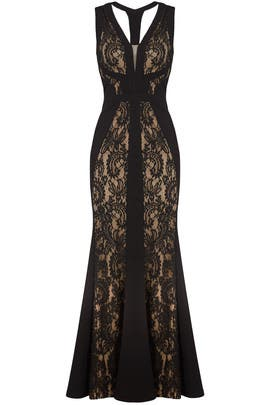 Black & Nude Lace Gown by LM Collection