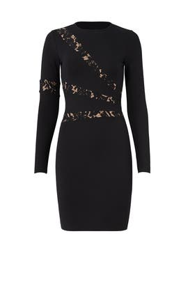 Black Illusion Lace Cutout Sheath by Ali & Jay