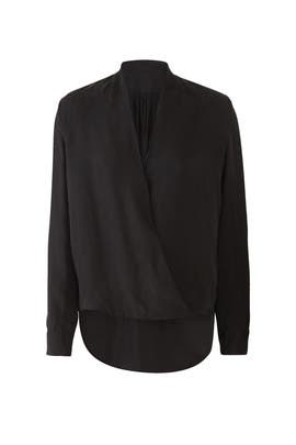 Black Faux Wrap Blouse by BLAQUE LABEL