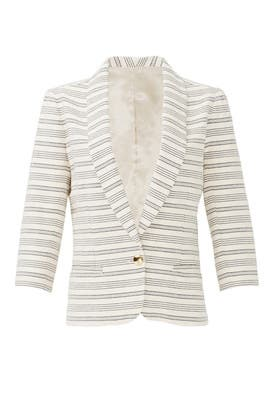 Beige Stripe Blazer by Paper Crown
