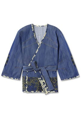 Floral Trim Denim Jacket by Derek Lam 10 Crosby