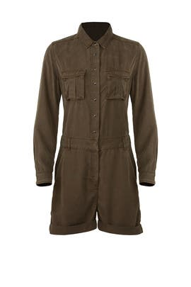 Khaki Combination Romper by The Kooples
