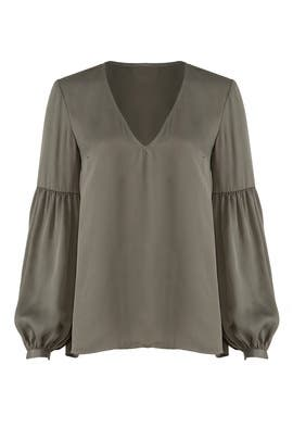 Green V-neck Blouse by L'Academie