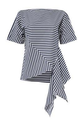 Navy Asymmetrical Stripe Top by J.O.A.