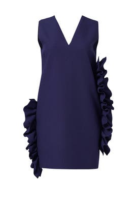 Navy Ruffle Shift Dress by MSGM