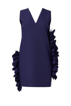 Navy Ruffle Shift Dress by MSGM