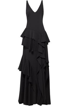 Black Ruffle Gown by Halston Heritage