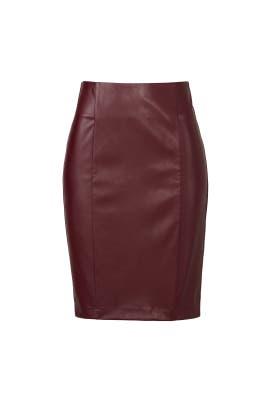 Merlot Vegan Leather Skirt by Paper Crown