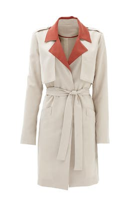 Terracotta Collar Trench Coat by Slate & Willow