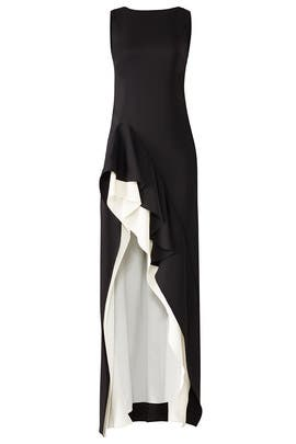 Black Flounce Gown by Halston Heritage