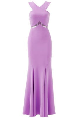 Pink Chevron Cutout Gown by Mignon