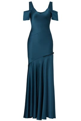 Green Cold Shoulder Gown by Prabal Gurung