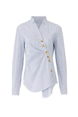 Blue Jones Striped Shirt by Tibi