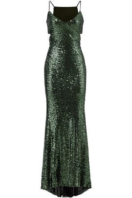 Emerald Sequin Gown by Badgley Mischka