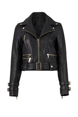 Black Leather Biker Jacket by Nicholas