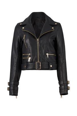 Black Leather Biker Jacket by Nicholas