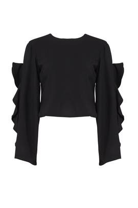 Black Ruffle Cape Top by Viva Aviva