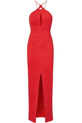 Red Ponte Rouleau Gown by Nicholas