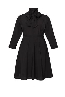 Black Tie Neck Shirtdress by ELOQUII