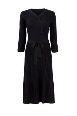 Black Rib Knit Wrap Dress by kate spade new york