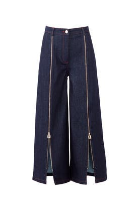 Front Zip Denim Culottes by Osman