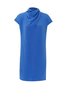 Imperial Blue Scarf Neck Dress by Nina Ricci