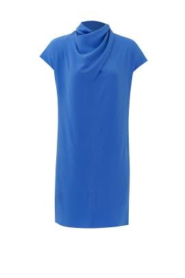 Imperial Blue Scarf Neck Dress by Nina Ricci