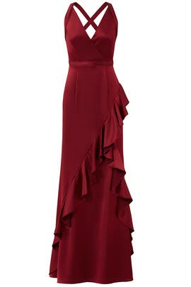 Wine Ruffle Gown by Aidan Mattox