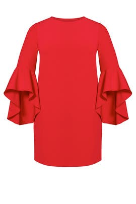 Red Flounce Sleeve Shift Dress by ELOQUII
