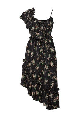 Dark Floral Midi Dress by MSGM