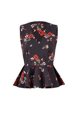 Black Floral Print Top by Rebecca Taylor