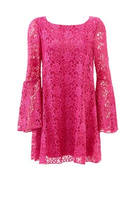 Fuchsia Lace Bell Sleeve Shift by Badgley Mischka