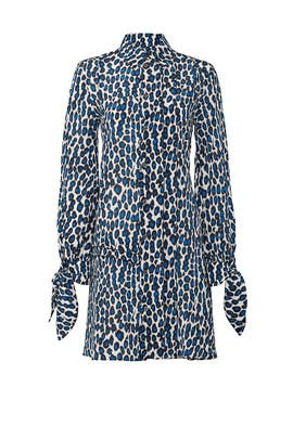 Blue Leopard Printed Shirtdress by DEREK LAM