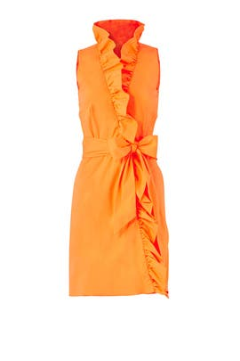 Orange Ruffle Tie Dress by Milly