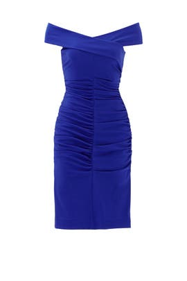 Royal Blue Structured Off The Shoulder Dress by Nicole Miller