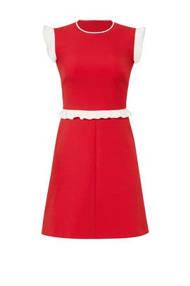 Red Ruffle Detail Dress by RED Valentino