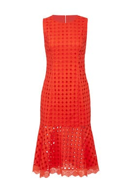 Red Eyelet Flounce Dress by Donna Morgan