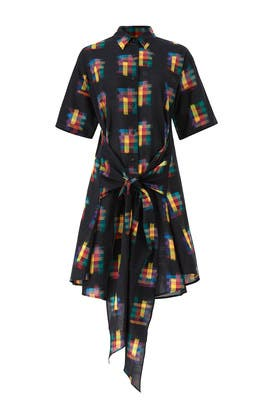 Black Printed Shirtdress by Tome