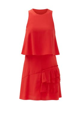 Red Sophia Ruffle Dress by Tibi
