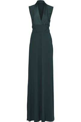 Forest Green Envelope Structure Gown by Carven