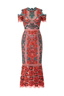 Red Floral Lace Dress by Marchesa Notte