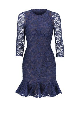 Navy Tea Flounce Dress by ML Monique Lhuillier