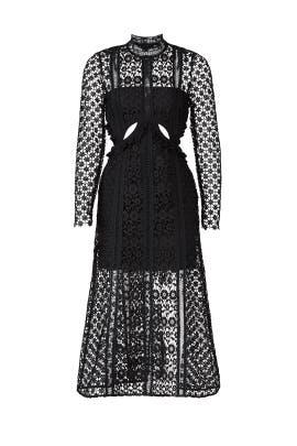 Lace Illusion Midi Dress by Self-portrait