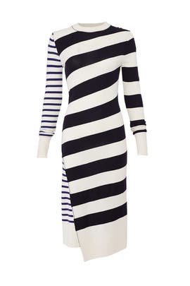 Queen Wool Stripe Dress by Jason Wu Grey