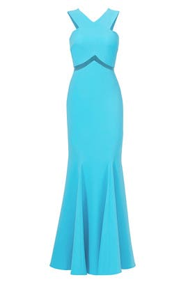 Turquoise Chevron Cutout Gown by Mignon