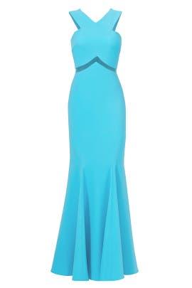 Turquoise Chevron Cutout Gown by Mignon