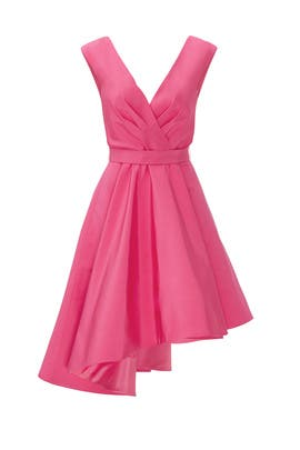 Pink Asymmetrical Silk Dress by Christian Siriano